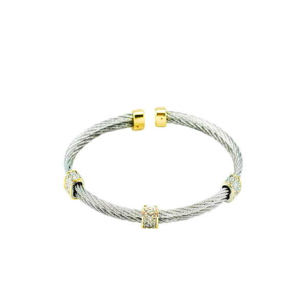 Designer Inspired Gold Pave Double Row Cable Cuff Bracelet