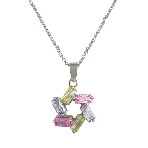 Multi-Color Pastel Pink, Lavender and Green Star Pendant Necklace in Rhodium