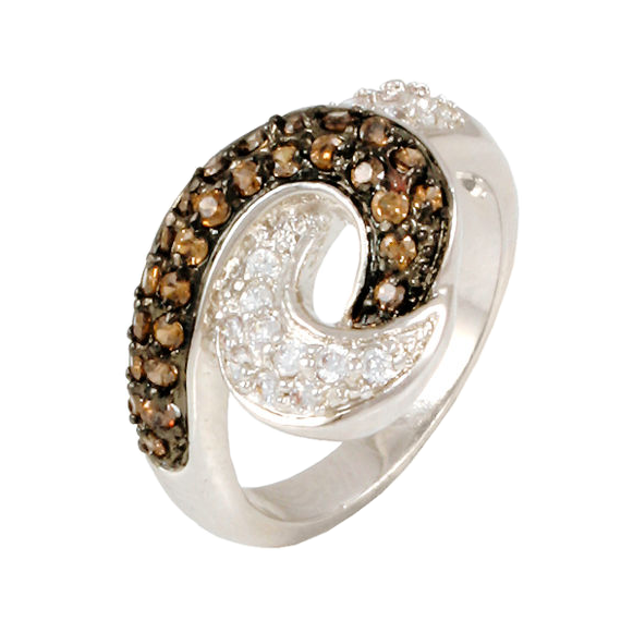 Chocolate and White Pave CZ Diamond Ring