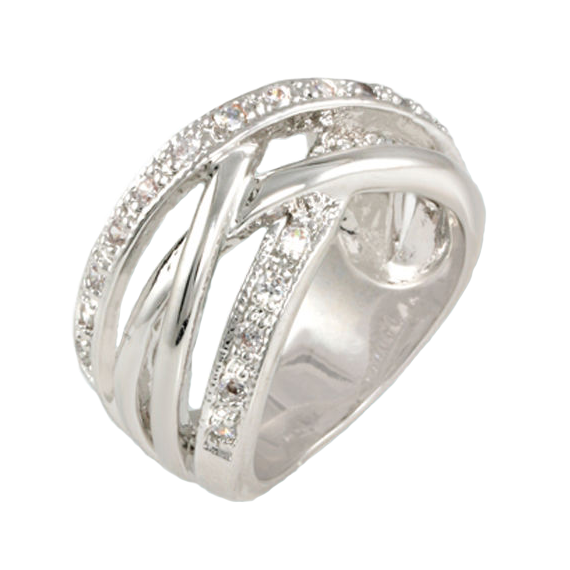 Modern Intertwining Band in Rhodium with CZ Stones