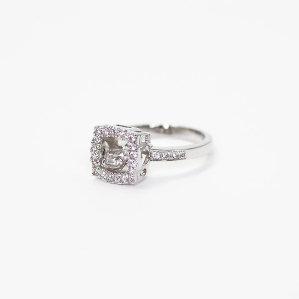 Square Pave Shimmery Moving CZ Diamond Ring