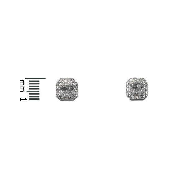 Pave Square Halo Stud Earrings