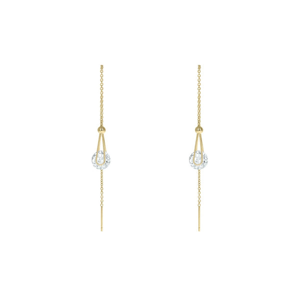 Linear Drop Solitaire CZ Earrings in Gold