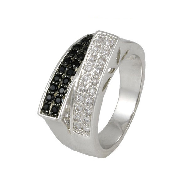Modern Bar Micro Pave Ring with Onyx and Clear CZ's