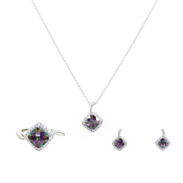 Mystic Topaz Cushion Cut Rainbow CZ 3 Piece Gift Set of Necklace, Earrings and Ring
