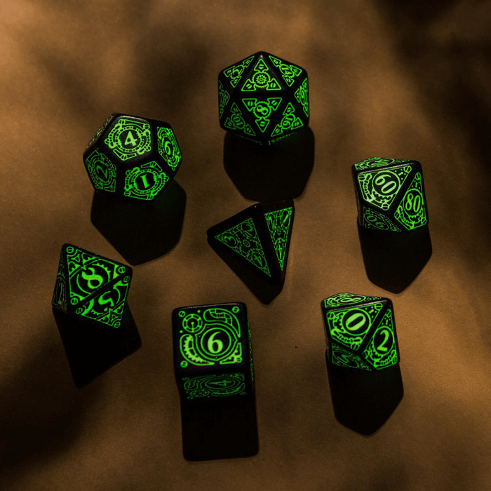 Dice 7-set Glow in the Dark (16mm) Steampunk