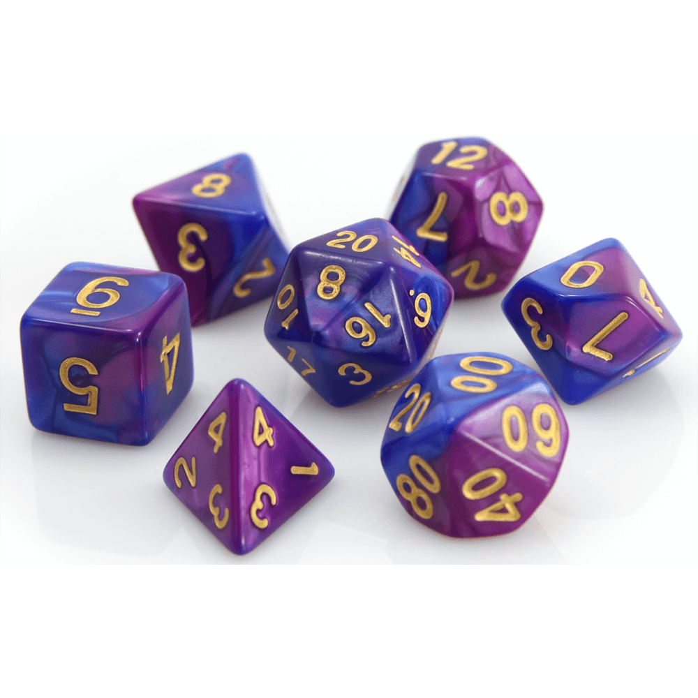 Dice 7-set Marble (16mm) Purple Blue