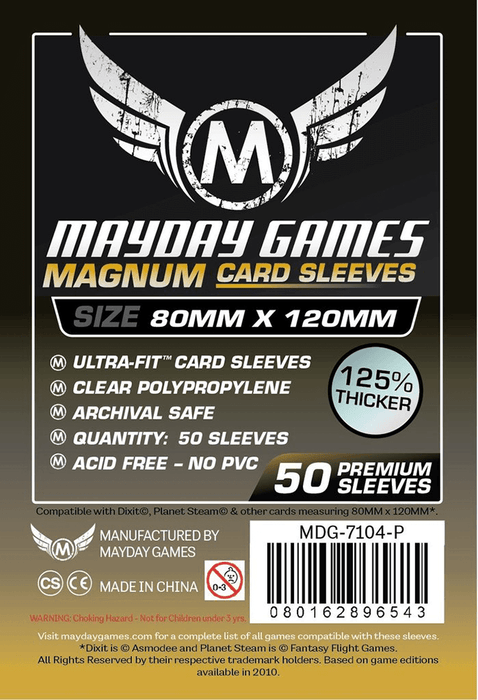Sleeves MayDay Premium Magnum Gold (80x120mm 100ct) Clear