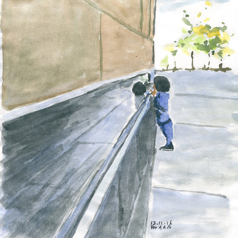 Curious Child at a Wall