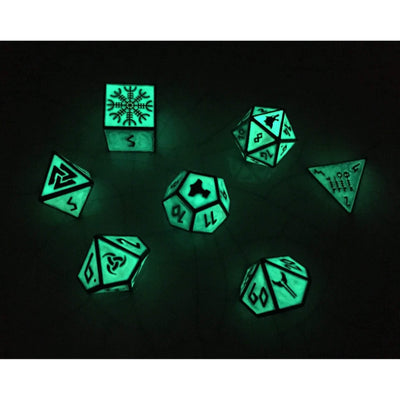 Green Slime Norse Themed Metal Dice Set
