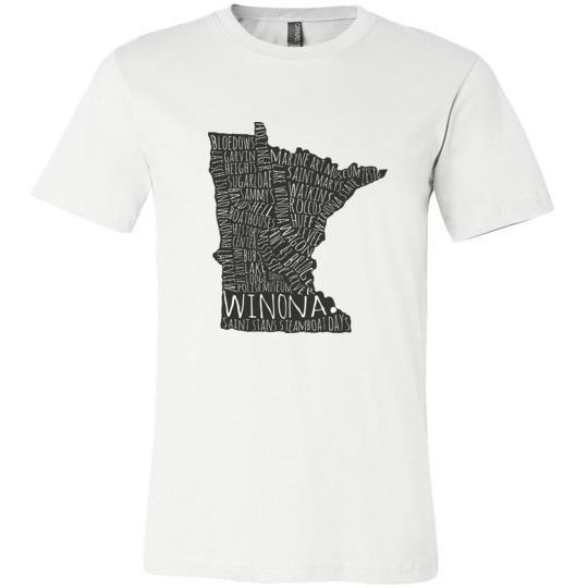 Winona MN Shirt Typography Map, Unisex T-Shirt
