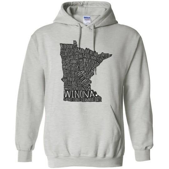 Winona MN Hooded Sweatshirt Typography Map, Gildan Heavy Blend - Kari Yearous Photography KetoLaughs