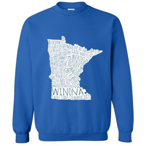 Winona Crewneck Sweatshirt White Typography Map - Kari Yearous Photography KetoLaughs