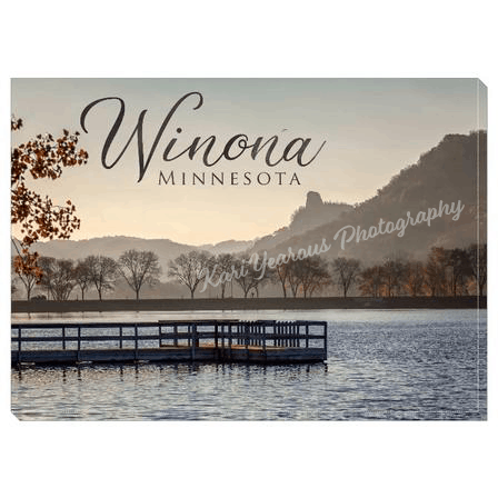 "Canvas Wrap 5"" x 7"" Fall Sugarloaf with Pier + Text - Kari Yearous Photography WinonaGifts KetoGifts LoveDecorah"