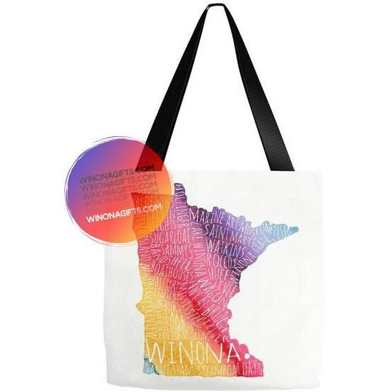 Winona MN Typography Tote Bag Rainbow Watercolor