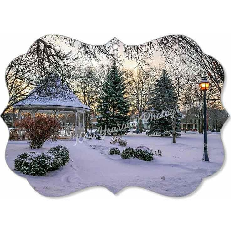 Canvas Ornament Snowy Gazebo at Windom Park Winona Minnesota - Kari Yearous Photography WinonaGifts KetoGifts LoveDecorah