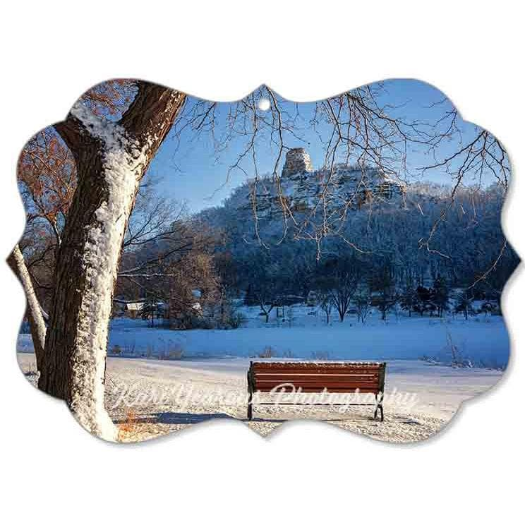 Canvas Ornament Sugarloaf with Snow and Bench - Kari Yearous Photography WinonaGifts KetoGifts LoveDecorah