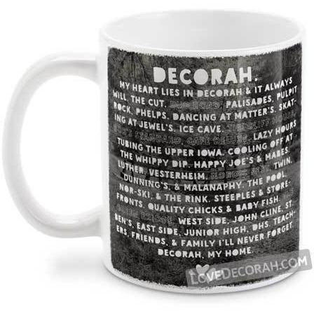 Decorah Iowa Coffee Mug, Heart Lies in Decorah, with Twin Springs - Kari Yearous Photography WinonaGifts KetoGifts LoveDecorah