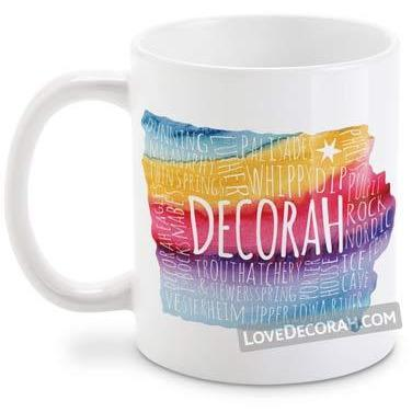Decorah Iowa Mug State Map, Rainbow Watercolor - Kari Yearous Photography WinonaGifts KetoGifts LoveDecorah