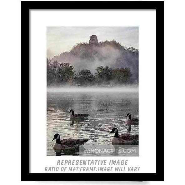 Geese With Sugarloaf In Winona Minnesota - Framed Print - Kari Yearous Photography WinonaGifts KetoGifts LoveDecorah