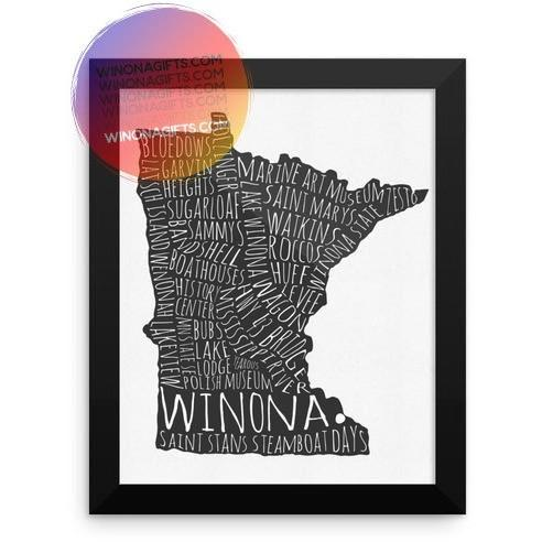 Framed Poster Winona MN Typography Map, 8x10 - Kari Yearous Photography WinonaGifts KetoGifts LoveDecorah