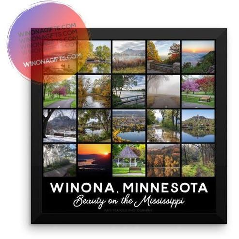 Framed Poster Winona Minnesota Square Photo  Collage - Kari Yearous Photography WinonaGifts KetoGifts LoveDecorah