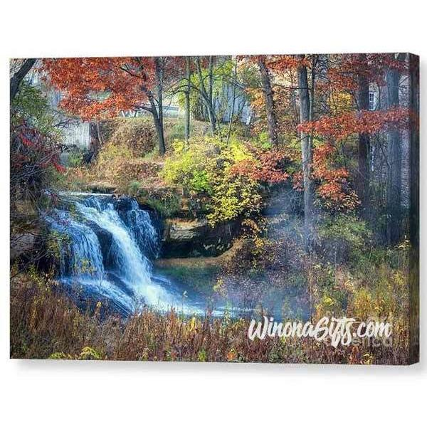 Pickwick Mill Falls in Autumn - Canvas Print - Kari Yearous Photography WinonaGifts KetoGifts LoveDecorah