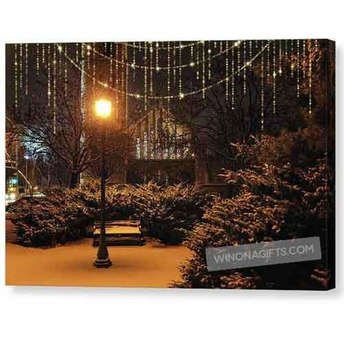 Wesley United Methodist Church Winona Minn With Lights Overlay - Canvas Print - Kari Yearous Photography KetoLaughs