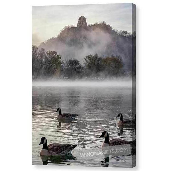 Geese With Sugarloaf In Winona Minnesota - Canvas Print - Kari Yearous Photography WinonaGifts KetoGifts LoveDecorah