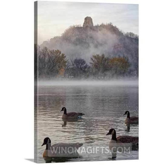 "Winona Minnesota 5"" x 7"" Canvas Wrap Geese with Sugarloaf"