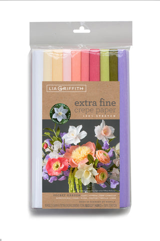 Lia Griffith Crepe Paper Folds Extra Fine - Secret Garden - 10 pack Assortment