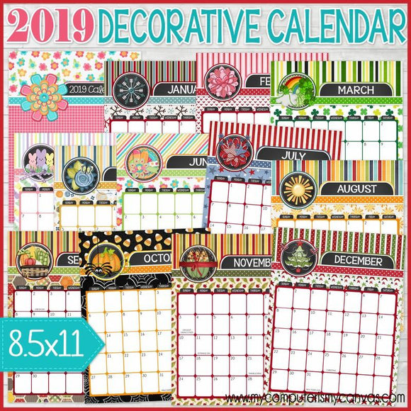 2019 Decorative Desk Calendar, Dated PRINTABLE-My Computer is My Canvas