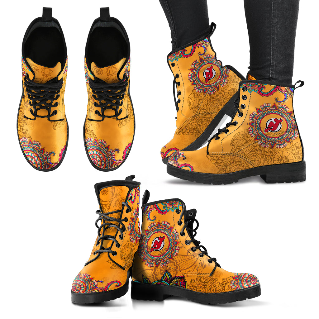 Golden Peace Hand Crafted Awesome Logo New Jersey Devils Leather Boots