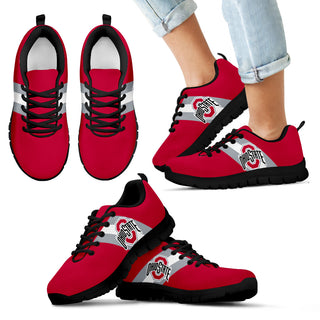 Three Colors Vertical Ohio State Buckeyes Sneakers