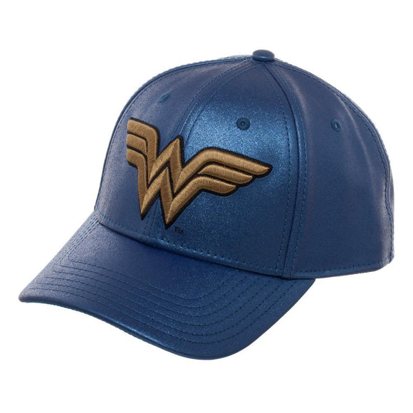 Blue Glitter Hat w/ Wonder Woman Logo