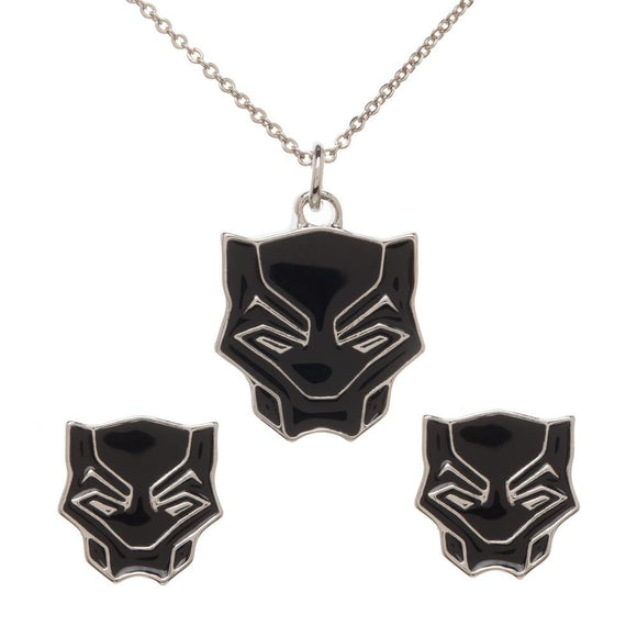 Black Panther Jewelry Necklace and Earring Set