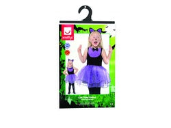 Toddler Cat Costume, Black & Purple, with Tutu Dress & Headband