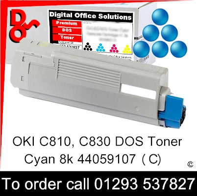 Call 01293 537827 to order Toner OKI C810 C830 Cyan (C) DOS Toner Premium Compatible Cartridge sales 44059107, 8k yield, in stock, nationwide next day delivery