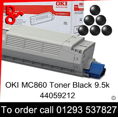 OKI MC860 Toner 44059212 Black Genuine OKI Toner Cartridge