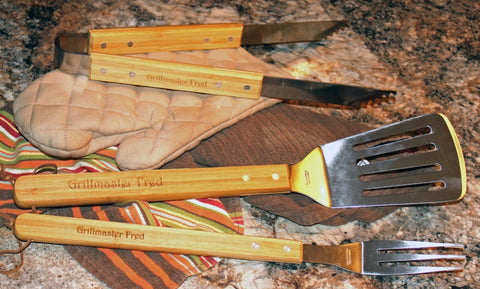 3 Piece Personalized BBQ Tool Set