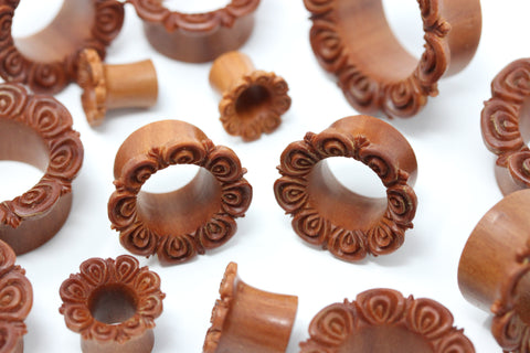 Floret Wood Tunnel Plugs - Carved Wood Tunnels (Pair) - PA90