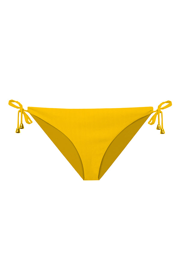 maylana 2020 tie side bikini bottom yellow swimsuit ribbed swimwear full coverage bottom