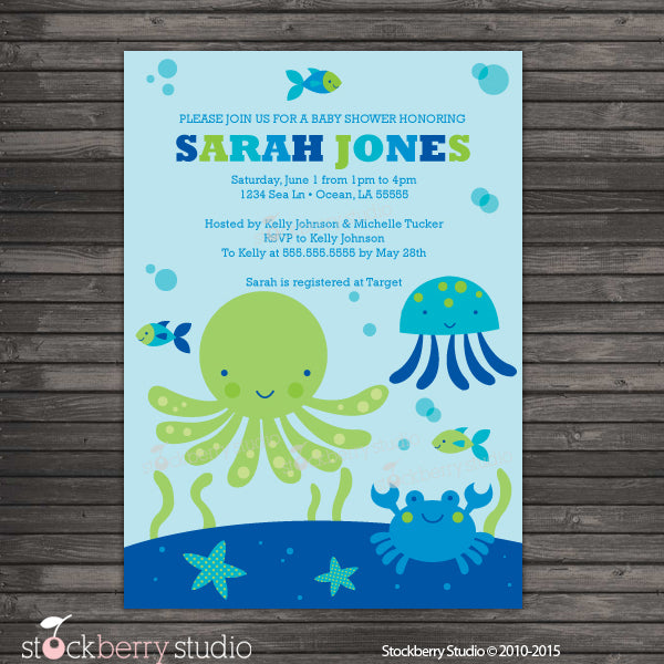 Under the Sea Baby Shower Boy Invitation Printable Ocean Blue and Green - Stockberry Studio