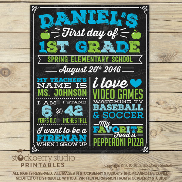 [First Day of School Sign Printable] - Stockberry Studio