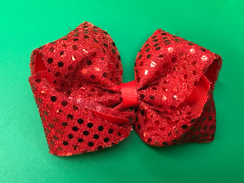 "5"" Red Sequin Bow - Paisley Bows"