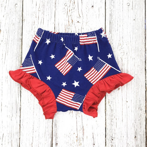 American Flag Ruffle Shorties - Paisley Bows