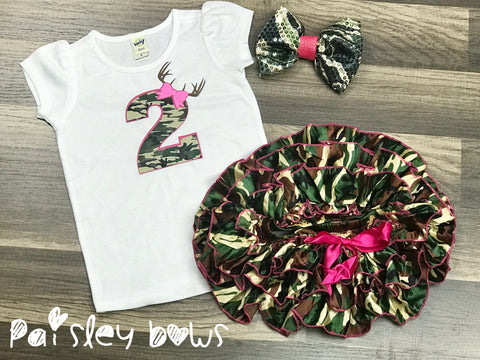 2nd Birthday Camo outfit - Paisley Bows