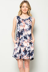 Tiffany Floral Swing Dress : Navy
