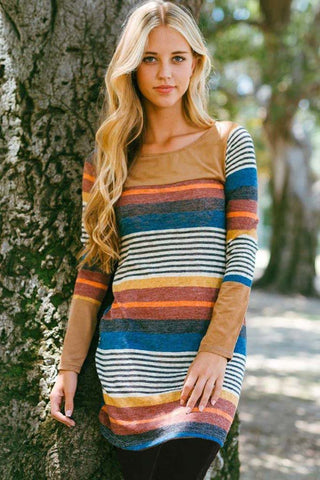 Multi Color Striped Tunic Dress : Black