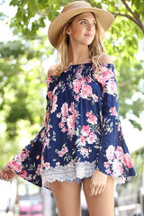 Sweet Floral Off Shoulder Top - Shirts - GOZON